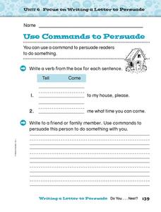 Use Commands to Persuade Worksheet