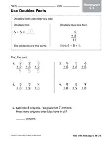 Use Doubles Facts: Homework Worksheet