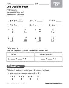 Use Doubles Facts Worksheet
