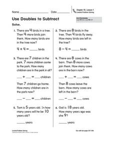 Use Doubles to Subtract Worksheet