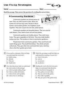 Use Fix-Up Strategies: Community Gardens Worksheet