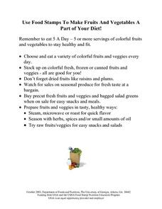 Use Food Stamps To Make Fruits & Vegetables A Part of Your Diet! Lesson Plan