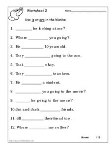 Use Is or Are worksheet 2 Worksheet