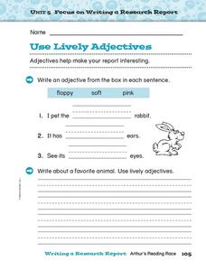 Use Lively Adjectives Worksheet