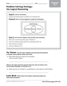 Use Logical Reasoning: Reteach Worksheet