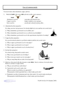 Use of Common Metals Worksheet