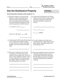 Use the Distributive Property Worksheet