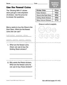 Use the Fewest Coins Problem Solving 15.3 Worksheet