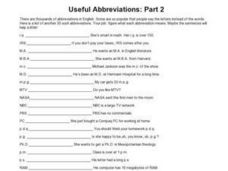 Useful Abbreviations: Part 2 Worksheet