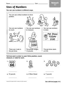 Uses of Numbers: Reteach Worksheet