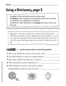 Using a Dictionary, Page 3 Worksheet