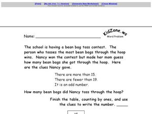 Using a Table Word Problem Worksheet