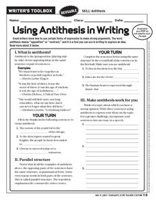 Using Antithesis in Writing Worksheet