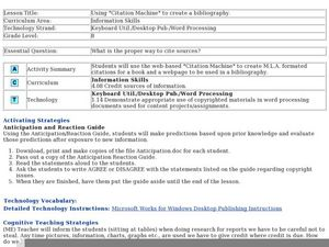 "Using ""Citation Machine"" to create a bibliography Lesson Plan"