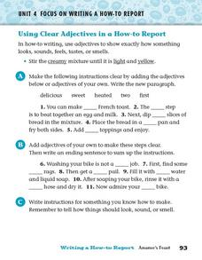 Using Clear Adjectives in a How-to Report Worksheet