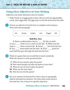 Using Clear Adjectives In Your Writing Worksheet