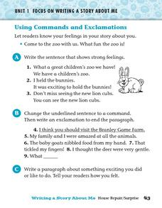 Using Commands and Exclamations Worksheet