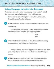 Using Commas in Letters to Persuade Worksheet