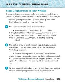 Using Conjunctions in Your Writing Worksheet