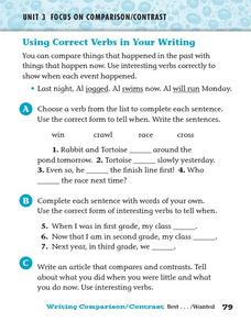 Using Correct Verbs in Your Writing Worksheet