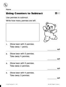 Using Counters to Subtract Worksheet