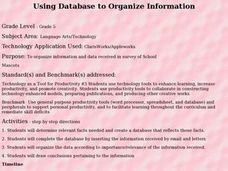 Using Database to Organize Information Lesson Plan
