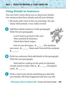 Using Details in Sentences Worksheet