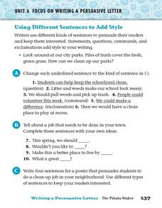 Using Different Sentences to Add Style Worksheet