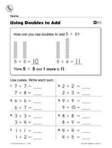 Using Doubles to Add Worksheet