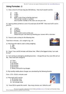 Using Formulae- 2 Worksheet