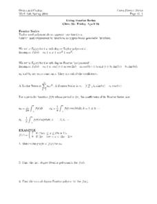 Using Fourier Series Worksheet