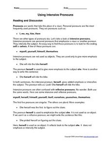 Using Intensive Pronouns 4th - 6th Grade Worksheet | Lesson Planet