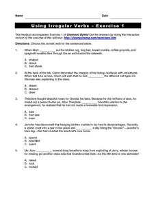 Using Irregular Verbs - Exercise 1 Worksheet