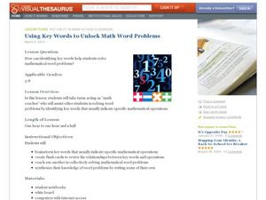 Using Key Words to Unlock Math Word Problems Lesson Plan