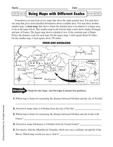 Using Maps with Different Scales Worksheet