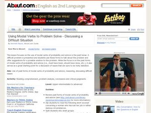 Using Modal Verbs to Problem Solve - Discussing a Difficult Situation Lesson Plan