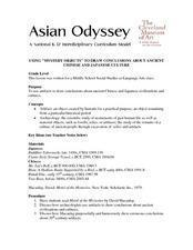 "Using ""Mystery Objects"" To Draw Conclusions About Ancient Asia Lesson Plan"