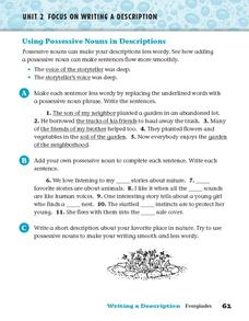 Using Possessive Nouns in Descriptions Worksheet