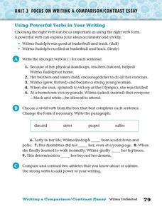 Using Powerful Verbs in Your Writing Worksheet