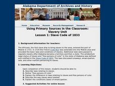 Using Primary Sources in the Classroom: Slavery Unit Lesson 1: Slave Code of 1833 Lesson Plan