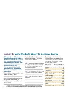 Using Products Wisely to Conserve Energy 2 Worksheet