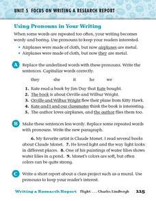 Using Pronouns in Your Writing Worksheet