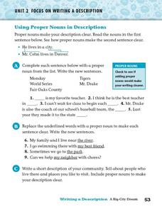 Using Proper Nouns in Descriptions Worksheet