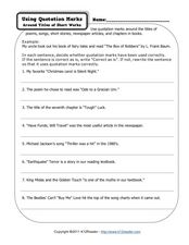 Printables Punctuating Titles Worksheet using quotation marks around titles of short works 4th 6th worksheet