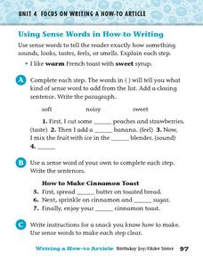 Using Sense Words in How-to Writing Worksheet
