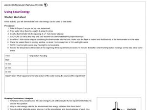 Using Solar Energy Lesson Plan