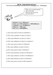 Using Standard Units Worksheet