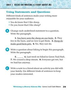 Using Statements and Questions Worksheet