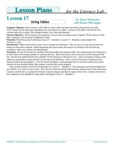 Using Tables Lesson Plan