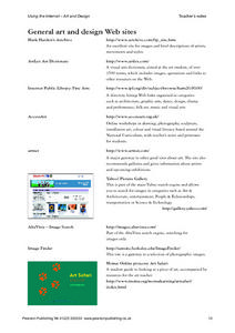 Using the Internet - Art and Design Worksheet